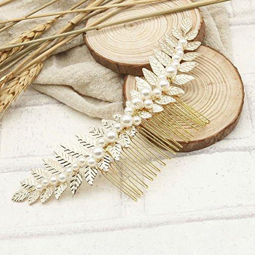 Handmadejewelrylady Braut-Haarschmuck / Haarkamm / Haaraccessoire, Blätter-Blumen-Design, goldfarben, Strass