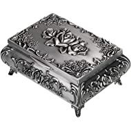 Hipiwe Vintage Metal Jewelry Box Small Trinket Jewelry Storage Box for Rings Earrings Necklace...