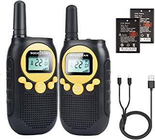 Walkie Talkies for Adults Rechargeable Battery 5 Miles Long Range 2 Way Radios Flashlight 22CH Yellow FRS License Free Rad...