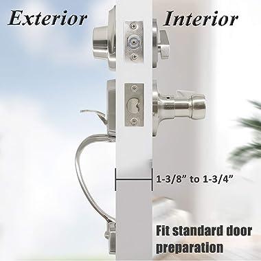 Probrico Single Cylinder Handleset leverset Lockset Adjustable Backset with Keyed Deadbolt Door Locks Satin Nickel, Exterior