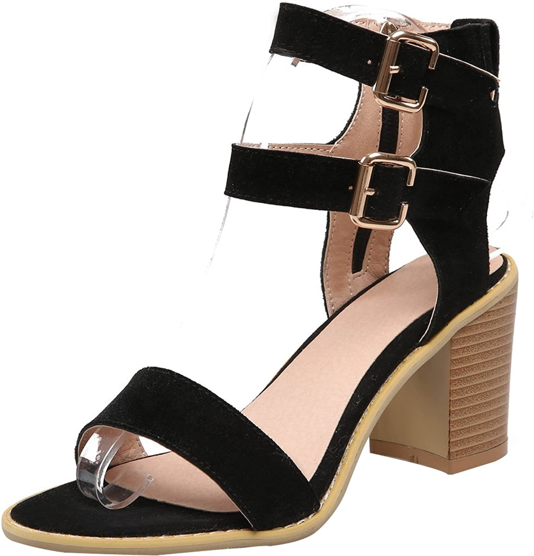 AIWEIYi Women's Roman Chunky High Heel Buckle Strap Platform Sandals Black