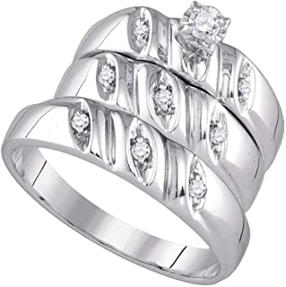 925 Sterling Silver Round Cut 100% Natural Diamond Solitaire Engagement Ring Bridal Wedding Set