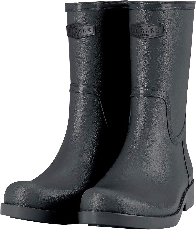 UNICARE Women's MidCalf Rain Boots Waterproof Rain shoes Nonslip Short Work Boot Rubber Rain Footwear Handmade