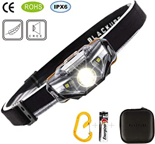 Blackube LED Headlamp Lightest Ultra Bright(Only 1.69Ounce),7 Lighting Modes,IPX6 Waterproof,Best Headlamp for Running,Camping,Hiking and Kids(Black)
