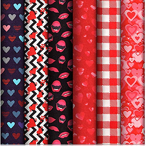 6 Telas de San Valentín Tela Artesanal Estampada con Corazón Tela a Cuadros Rojos y Blancos con Patrón de Labios Patchwork con Tema de San Valentín para DIY Decoración Hogar Bolsa