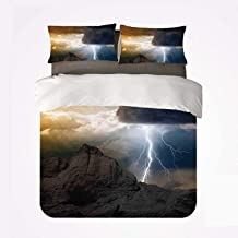 Nature Nice 3 Bedding Set,Thunder Rays from Dark Clouds Hitting Down to The Mountain Storm Theme Art Print for livingroom,King