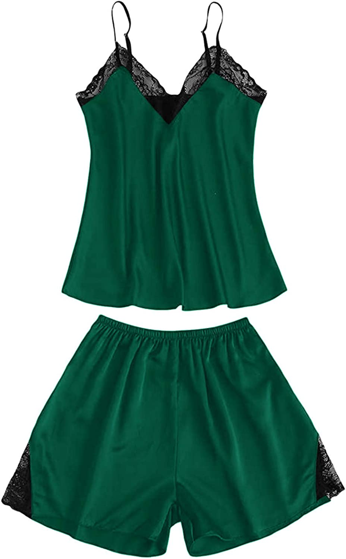 Maryia Naughty Sexy Lingerie for Women Fashion V Neck Lace Camisole Teddy Satin Babydoll Pajamas Halter Sleepwear
