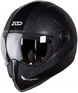 Steelbird SB-50 Adonis Zap Classic Full Face Helmet Stylish Bike Helmet (Large 600 MM, Black with Plain Visor-Designed For Aerodynamics Ride)