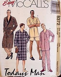 8372 McCalls Sewing Pattern Mens 42,44 Robe, Tie-belt, Nightshirt, Pajamas
