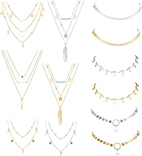 hefanny 12 Pcs Adjustable Boho Layered Choker Necklace Pendant Moon Star Turquoise Feather Olive Leaf Coin Multilayered Tiered Chain Necklaces for Women Girls Mother Jewelry Set