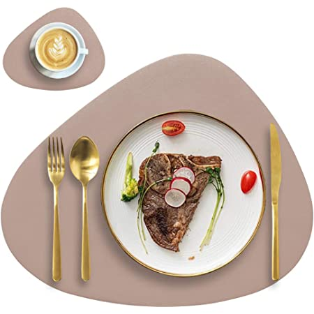 Apricot DYJKOUG Faux Leather Placemats and Coasters Set of 6 Rectangle Placemats Table Mats Waterproof Oilproof Heat Resistant Non Slip Washable Coffee Mats for Kitchen Dinning Table