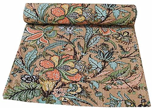 Manta hecha a mano de Kantha india de algodón con diseño floral bohemio, hermosa manta de algodón puro (beige, 156 x 222 cm)