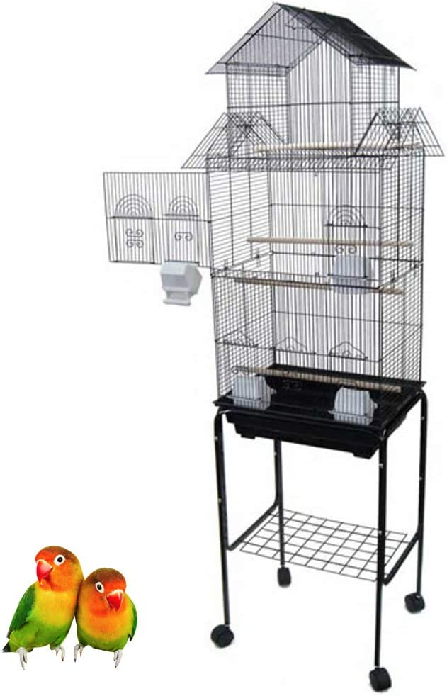 Amazon Com Mcage Large Tall Pagoda House Canary Parakeet Cockatiel Lovebird Finch Bird Cage With Stand 18 X14 X60 Black Pet Supplies