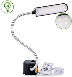 EVISWIY Sewing Machine Light LED Lighting (30LEDs) 6 Watt for Workbench Lathe Drill Press Daylight White Flexible Gooseneck Arm Work Lamp with Magnetic Mounting Base Black