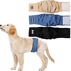 LOVABLEU Male Dog Diaper Wraps Cover Washable Belly Bands Pet Sanitary Nappies Pants 3 Pack