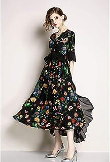 فستان متوسط من واي اند دي للنساء بقبة V ونمط زهور وكم ثلاث ارباع قصة ايه لاين - اللون