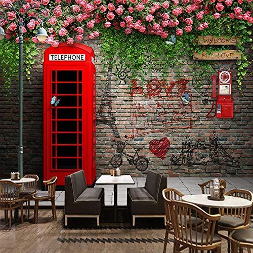 Qqasd Fondo de pantalla London Telephone Booth Rose 3D Wall Murals Cafe Restaurant Living Room Background Wall Papers Decor-350X250CM