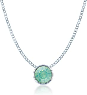 Ed Heart Women's Small Pendant Necklace with Round Crystals from Swarovski