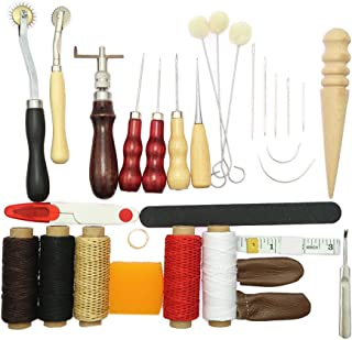 HOMYL 31 Pieces Leather Tool Craft DIY Hand Stitching Kit with Groover Awl Waxed Thimble