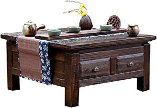 Living Room Furniture Bedroom Small Coffee Table Wooden Tea Table Burning Paulownia Table Japanese Table with Drawer Squar...