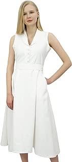 Phagun Women's Casual Solid Sleeveless Cotton Simple Tunic Midi Dress