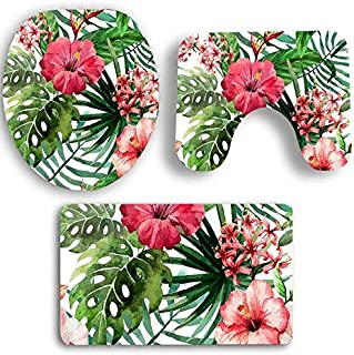 Korean World Hobbylane 3Pcs Non-Slip Bathroom Set with Tropic Plant Pattern O-S Toilet Cover U-S Mat Rectangle Carpet Decoration Must-Have 6 Year OGirl Gifts The Favourite DVD Superhero Party Favors