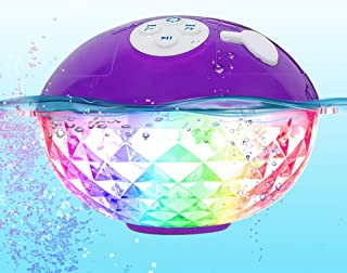 Portable Bluetooth Speakers Wireless Colorful Lights Show,IPX7 Waterproof Floating Pool Speaker,Built-in Mic Crystal Clear...