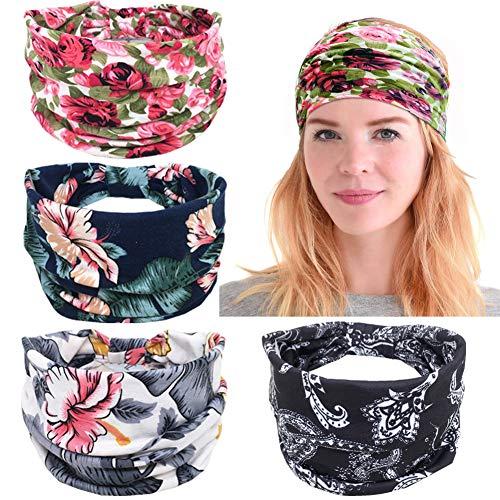 4 Pack Bandeaux Boho Floral Hair Band Élastique Turban Head Wrap Cheveux Accessoires pour Femmes Filles