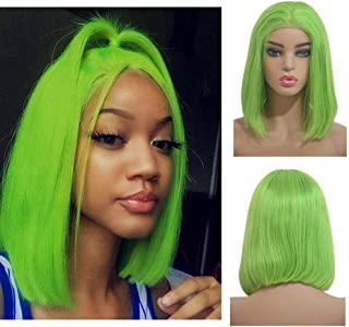 Loviness Short Straight Lace Front Human Hair Bob Wigs Bleached Knots 180% Density 13x4 Lace Frontal Glueless Remy Hair Wig Light Green Virgin Hair Wigs Pre Plucked(8 inches)