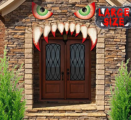 Large Size Halloween Monster Face Decorations 25.59inches + 10PCS Bats – Outdoor Garage Door Archway Car Party Decor…