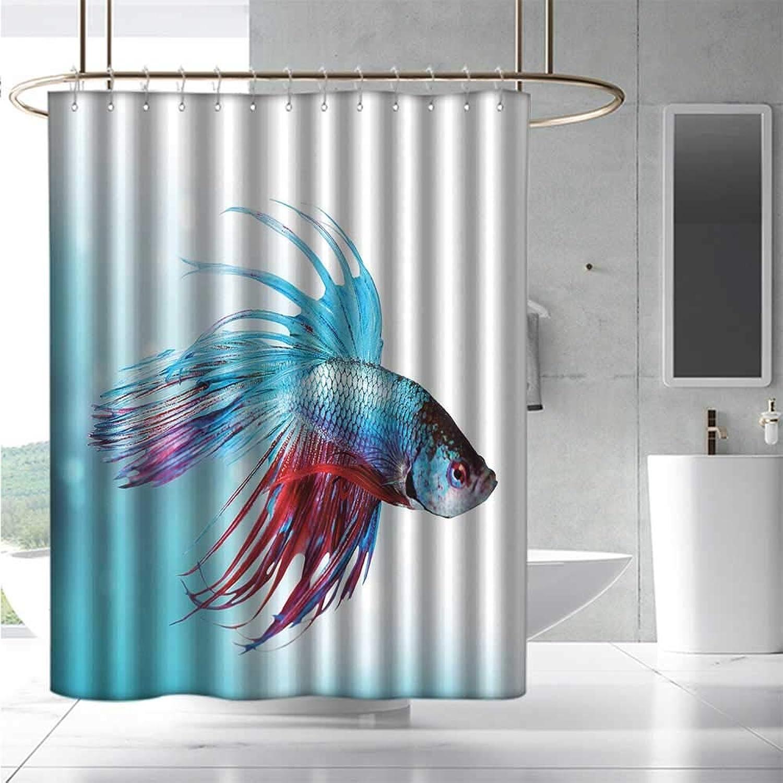 EwaskyOnline Fabric Shower Curtain Aquarium Siamese Fighting Betta Fish Swimming in Aquarium Aggressive Sea Animal Fashionable Pattern W55 x L84 Sky bluee Dark Coral