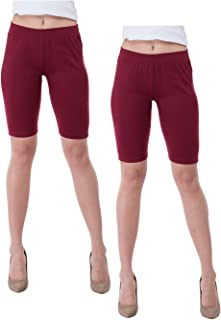 IndiWeaves Women's Cotton Cycling Shorts (Csw02-02-iw_Maroon_40) Pack of 2