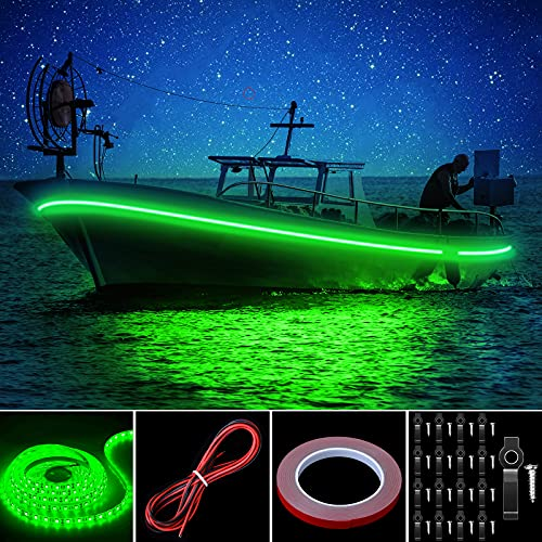 Pontoon LED Strip Lights, 16.4FT 12V Waterproof Marine Boat Interior Courtesy Lights, Under Deck Night Fishing Lights with Mounting Brackets Adhesive Tape and Extension Cable for Pontoon Boat (Green)