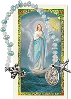 Our Lady Star of The Seas Stella Maris Cultured Freshwater Pearls Holy Chaplet with Silver Oxidized Findings and Blessed Laminated Italian Holy Card with Gold Accents (Blue)