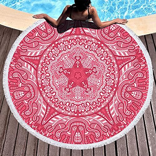 NHhuai Toalla de Playa de Microfibra,Toalla de Piscina Grande Esterilla de Yoga, Seque Rápidamente,Prevención de Arena para Viaje, Picnic Borla geométrica Plus Redonda
