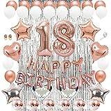 Huture Decoración de 18 Años de Oro Rosa Feliz Cumpleaños Globo Guirnalda Banner Globo de Látex Confeti Lentejuelas Lámina Número 18 Globo Estrella de Corazón con Cortina Papel Plateado para Niñas