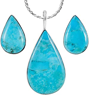 Sterling Silver and Genuine Turquoise Necklace & Earrings Matching Set (Teardrops)
