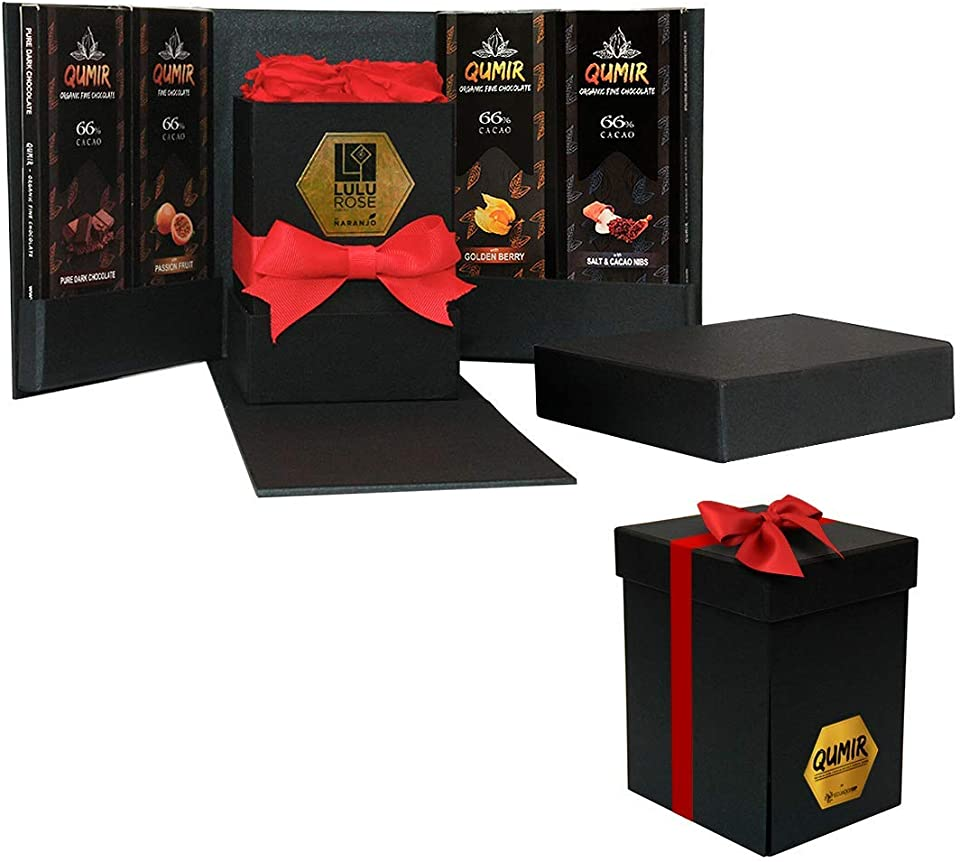Eternal Real Roses and Dark Chocolate Bars by QUMIR | 4 Red Roses & 4 Variety Pack | From Ecuador | 2.47oz per each bar