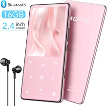 $35 » MP3 Player with Bluetooth 4.2, AGPTEK HiFi Music Player with Speaker 2.4 Inch Large Screen 16GB Portable Lossless Audio Player Support FM Radio Recordings Up to 128GB TFT Card, Rose Gold