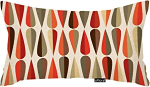 oFloral Throw Pillows Covers Mid Century Modern Style Retro with Drop Shapes in Tones Abstract Cushion Cover Home Decor Pillowcases for Couch Sofa Bed Living Room 12x20 Inch Cotton Linen