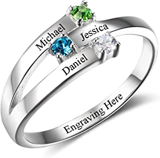 Personalized 3 Names Mothers Daughter Rings with 3 Simulated Birthstones Custom Women Jewelry for Grandma