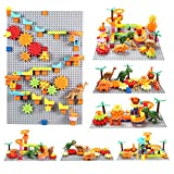 Dinosaurs Marble Run Building Blocks Gear Toys STEM Toys, Marble Race Tracks Classic Big Blocks Compatible with All Major Brands