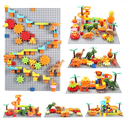 Dinosaur Marble Run Building Blocks Gear Toys, STEM Toys Gifts for Kids, Boys and Girls