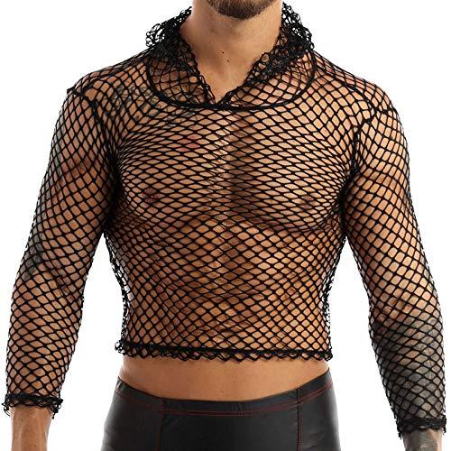 Agoky Herren Langarmshirt Netzshirt Netzhemd Hoodie Männer sexy T-Shirt Tops transparentes Muskelshirt Clubwear M-XXL Schwarz XL