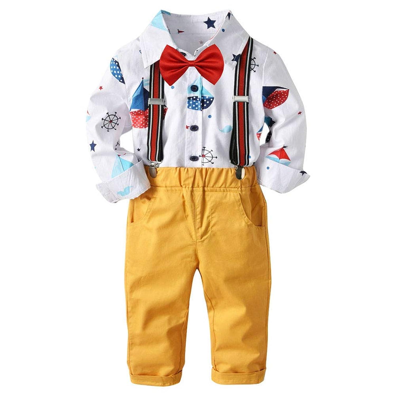 Juleyaing 子供たち 男の子 衣料品セット - 紳士 服装スーツ ロングスリーブ 印刷 シャツ + イエロー パンツ + レッド ボウタイ + サスペンダー 0-5歳