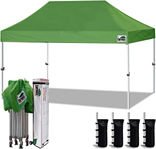 Eurmax 10`x15` Ez Pop Up Canopy Tent Commercial Instant Canopies with Heavy Duty Roller Bag,Bonus 4 Sand Weights Bags (Field Green)