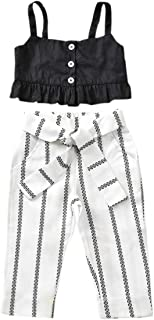 Toddler Girl Clothes Baby Ruffle Condole Belt Top Zebra Strip Long Pants Kids Summer Outfits Sets