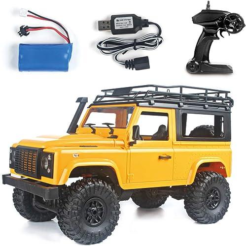 petitJUN Voitures RC, 1 12 RC Rock Crawler D90 2.4G 4Wd Voiture Télécomhommede Camion Jouet Défenseur, Jaune