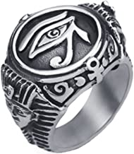 AccessCube Unisex Antique Stainless Steel Egyptian Pharaohs Eye of Horus Ra Udjat Silver Tone Ring