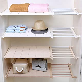 HyFanStr Adjustable Storage Rack Expandable Separator Shelf for Wardrobe, Cupboard, Bookcase Compartment Collecting (Length:20.9